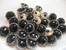 LOT OF 30 SILVER & BLACK 11/16 INCH SHANK BUTTONS, NEW,