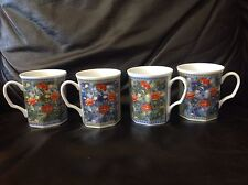 Oriental Accent Multi-color Flower With Blue And Light Green Mugs Set Of 4