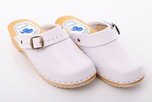 White Clogs Geniune Leather Hand Made Healthy Mules Wooden Sole Shoes D4