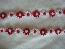 """9 yd small Venice daisy white red lace trim 1/2"""" w great for doll,kids clothes"""
