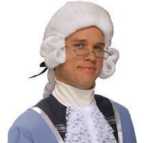Pioneer Revolutionary George Washington Franklin Jefferson White Colonial Wig