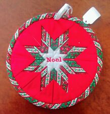 "Quilted Round Christmas Potholder, ""Noel"" 8 1/2"" Nwt Red, Green, White Star"