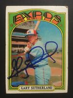 Gary Sutherland Expos Signed 1972 Topps Baseball Card #211 Auto Autograph 1