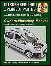 Haynes PEUGEOT PARTNER 08-16 TEPEE AZTIVE S ZENITH Owners Repair Manual Handbook