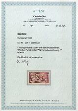 Saar Mi. 298I** postfrisch Plattenfehler I Luxus, Fottoattest (800,-€) (8349/29)