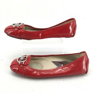 Michael Kors Fulton Ballet Flats Womens 9.5 M Casual Slip On Patent Leather Red