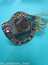 """Mary Frances picture frame feather and stones, 6"""" and 6""""[B]"""