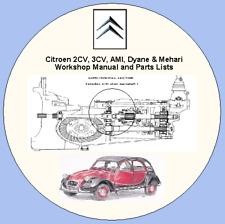 Citroen 2CV, 3CV, AMI, Dyane & Mehari Workshop Manual and Parts Lists