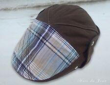 Nobis Men's Linen Brown Ivy Cap - Plaid Front -One Size