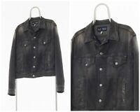 Vintage Mens ARMANI JEANS Denim Trucker Jacket Grey Size M