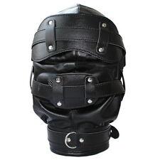 Lockable Leather Gimp Bondage Hood Deprivation GAY Mask Mouth Gag Blindfold N