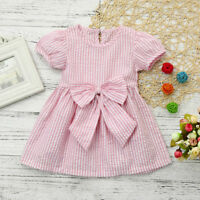 Child Baby Girls Toddler Kids Clothes Stripe Bow Princess Outfits Summer Dress