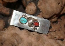 Navajo Turquoise and Red Coral Sterling Money Clip Native American