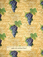 "Vineyard Grape Vines Cotton Fabric Traditions Words Wine Grapes 18"" Length"