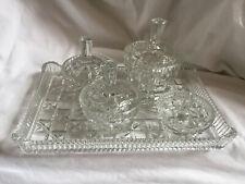 More details for vintage clear pressed glass 5 piece vanity dressing table set