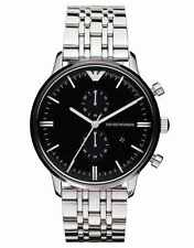ARMANI MENS CHRONOGRAPH WATCH AR0389 BLACK DIAL METAL STRAP, COA, RRP £379.00