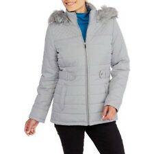 Faded Glory Women's Gray Fashion Puffer Coat With Fur-Trimmed Hood Size 12-14 L