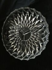 Cut Glass 1960's Diamond Pattern 3 Way Divided Condiments Serving Dish Bowl