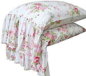 Country Roses Pink Floral Print Pillowcases Shabby Chic Vintage Long Ruffles 1pc