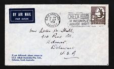 AUSTRALIA SCOTT #212 ⭐ CROCODILE COVER TO USA ⭐ SLOGAN CANCEL 1953