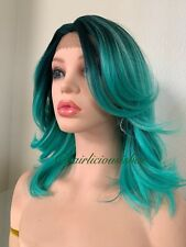 green ombre lace front wig Wavy Layered Medium Length 12 Inch Heat Resistance Ok