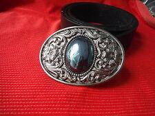 Celta nórdica gótica Joya Ovalo Flor Arte Diseño Hebilla Correa De Cuero Negro
