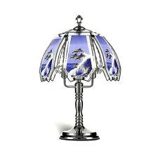 Glass Dolphin Scene 3 brightness Touch Lamp, Black Chrome base