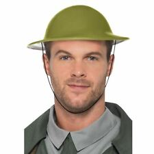 Adults Wartime Tommy Hat Plastic Green Army Military Soldier Helmet British