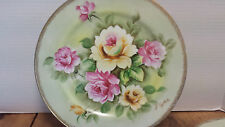 "4 Hand painted 10 3/8"" plates Roses w/ gold trim Signed by the artist I. Yokoe"