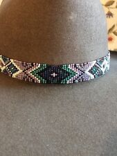 NATIVE DESIGN Handmade Beaded Hatband HAT BAND PURPLE BLUE GREEN BLACK DEERSKIN