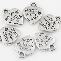 New 15/30Pcs Tibetan Silver Made With Love Heart Charms Pendants Jewelry 12x10mm