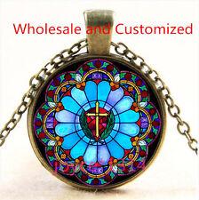 Saint Jesus Cross Stained Cabochon bronze Glass Chain Pendant Necklace TS-4788
