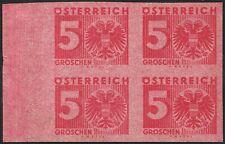 Österreich Porto Nr 162 P U Ziffern 5 Groschen ungezähnt Probedruck 4er-Block