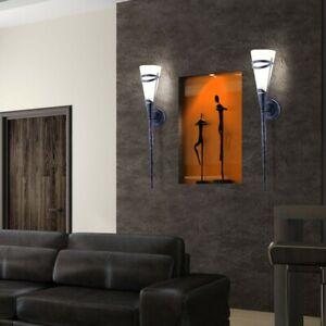 Antike Wand Fackel Leuchte Landhaus Stil Wohnraum Glas Lampe Rost Farben Diele