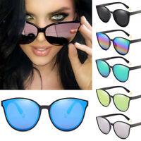 Fashion Women's Oversized Sunglasses Cat Eye Flat UV400 Mirror Square Eyewear