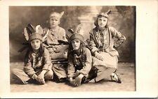 RPPC ~ CHILDREN ~ INDIAN DRESS ~ COSTUMES ~ HALLOWEEN ~ DRESS UP             H94