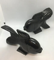 """Vintage Heavy Carved Black  Stone Fish Bookends Solid Stone / 8.5""""x5.5""""x1-3/4"""""""