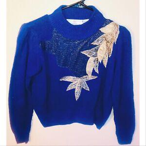 BEAUTIFUL Chelsea Studio Women's Silk, Nylon & Angora Blend Sweater Size Small