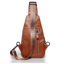 Ekphero® Men Casual Genuine Leather Oil Wax Chest Bag Crossbody Bag - Coffee