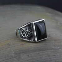 Vintage Real 925 Sterling Silver Ring  Black Agate Mens Open Size 7 to 12