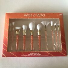 Wet N Wild Professional Make Up Brushes Set 10 Piece Peach Crystal Handles Gift