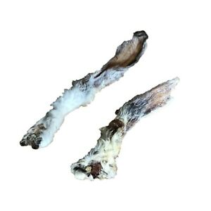 20 x Natural Dried HAIRY Furry Dog Treat Rabbit Ears Barf Diet Chew