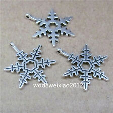 20pc Retro Charms Christmas Snowflake Pendant Beads Accessories Jewellery PL846