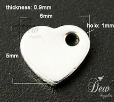 30x stainless steel heart tags blank tag charms 6mm small charm