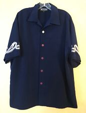 Dragon Fly Clothing Navy Blue Embroydered Dragon Sleeves Size Large L