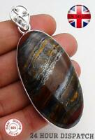 Iron Tiger Eye Pendant 925 Sterling Silver Loop Hand Made 57mm SB12807