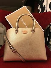 NWT MICHAEL KORS SAFFIANO LEATHER CINDY LARGE DOME SATCHEL BAG IN ROSE GOLD