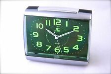 Quartz Sweep Alarm Desk Clock with Green Dial Number Easy to Read Power®