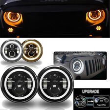 2Pc 7 Inch Round LED Headlights Halo Angle Eyes For Jeep 97-2017 Wrangler JK LJ