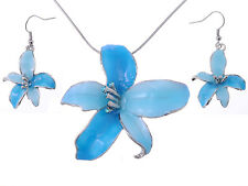 Tropical Hawaiian NEW Flower Sky Blue Enamel Silver Tone Necklace Earring Set